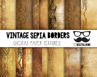 premium digital paper set vintage sepia borders digital paper scrapbook paper vintage sepia borders texture instant download