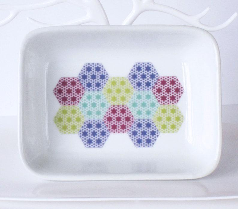 Many Uses Tableware Stationery etc Jewellery 13 x 9.5cm Pastel Patchwork Pattern Ceramic Dish
