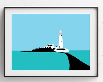 St Mary's Lighthouse Whitley Bay Art Print