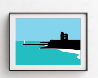 The Priory Tynemouth Illustration Print Seaside Gift Picture Art Artwork