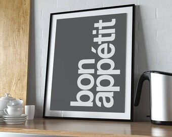 Bon Appetit Print Art Artwork Illustration Text Typography