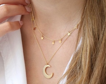 Gold Double Layer Stars and Moon Necklace