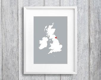 Uk Map Heart Print