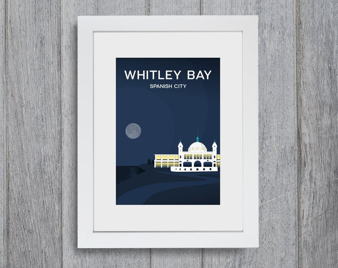 Featured listing image: Whitley Bay Spanish City Framed A4 size Art Print