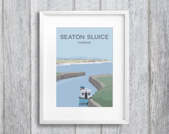Seaton Sluice Harbour Art Print