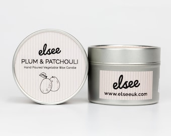 Plum & Patchouli Hand Poured Vegetable Wax Candle