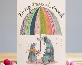Cat & Dog Friends Greetings Card