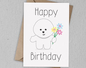 Bichon Frise Birthday Card Greetings Card