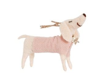Dachshund Dog with Antlers Felt Decoration