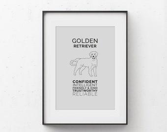 Golden Retriever Art Digital Download