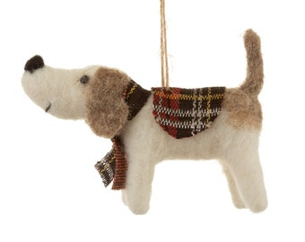 Tartan Dog Hanging Felt Decoration