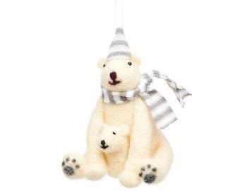 Polar Bear with Cub Hanging Decoration