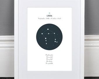Libra Zodiac Constellation Print