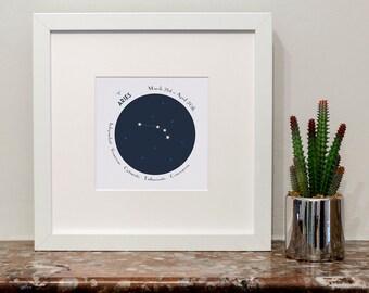 Aries Zodiac Constellation Print
