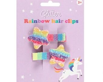 Rainbow Star Hair Clips