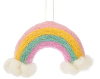 Rainbow and Clouds Hanging Felt Decoration