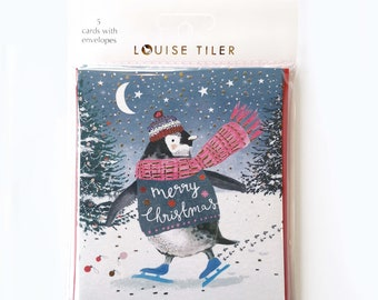 Skating Penguin Christmas Cards Pack of 5