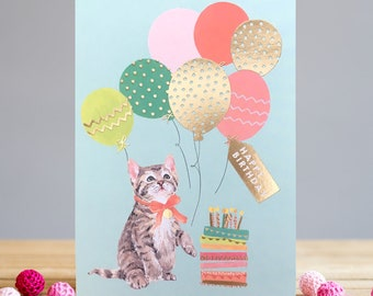 Kitten and Balloons Greetings Card