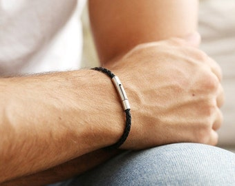 Slim Black Woven Leather Bracelet