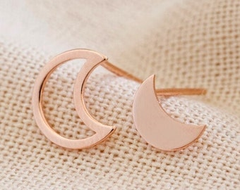 Mismatched Moon Earrings in Rose Gold