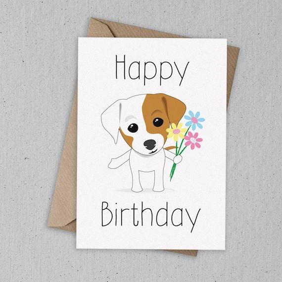 Jack Russell Birthday Card Etsy