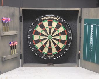 Dartboard Cabinet with dartboard, darts holder, scoreboard, rustic cabinet, barn style, darts, man cave