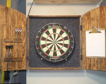 Dartboard Cabinet with dartboard, rustic cabinet, barn style, darts, man cave