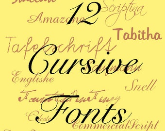 Cursive Font Pack - 12 Quality TrueType Fonts - For Personal or Commercial Use
