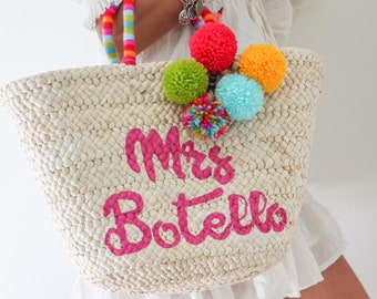 ea6f19268 Beach Bag,Personalized Beach Bag,Beach Tote Bag,Bridal Gift,Bridesmaid Beach  Bag, Bridesmaid gifts,Straw Beach Bag, Honeymoon, Pom pom bag