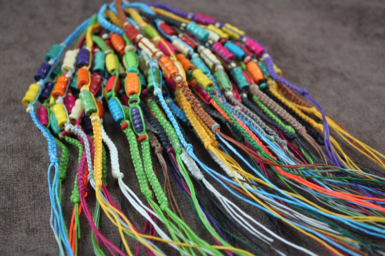 Bracelets Colorful wooden beads woven Handmade Lot.