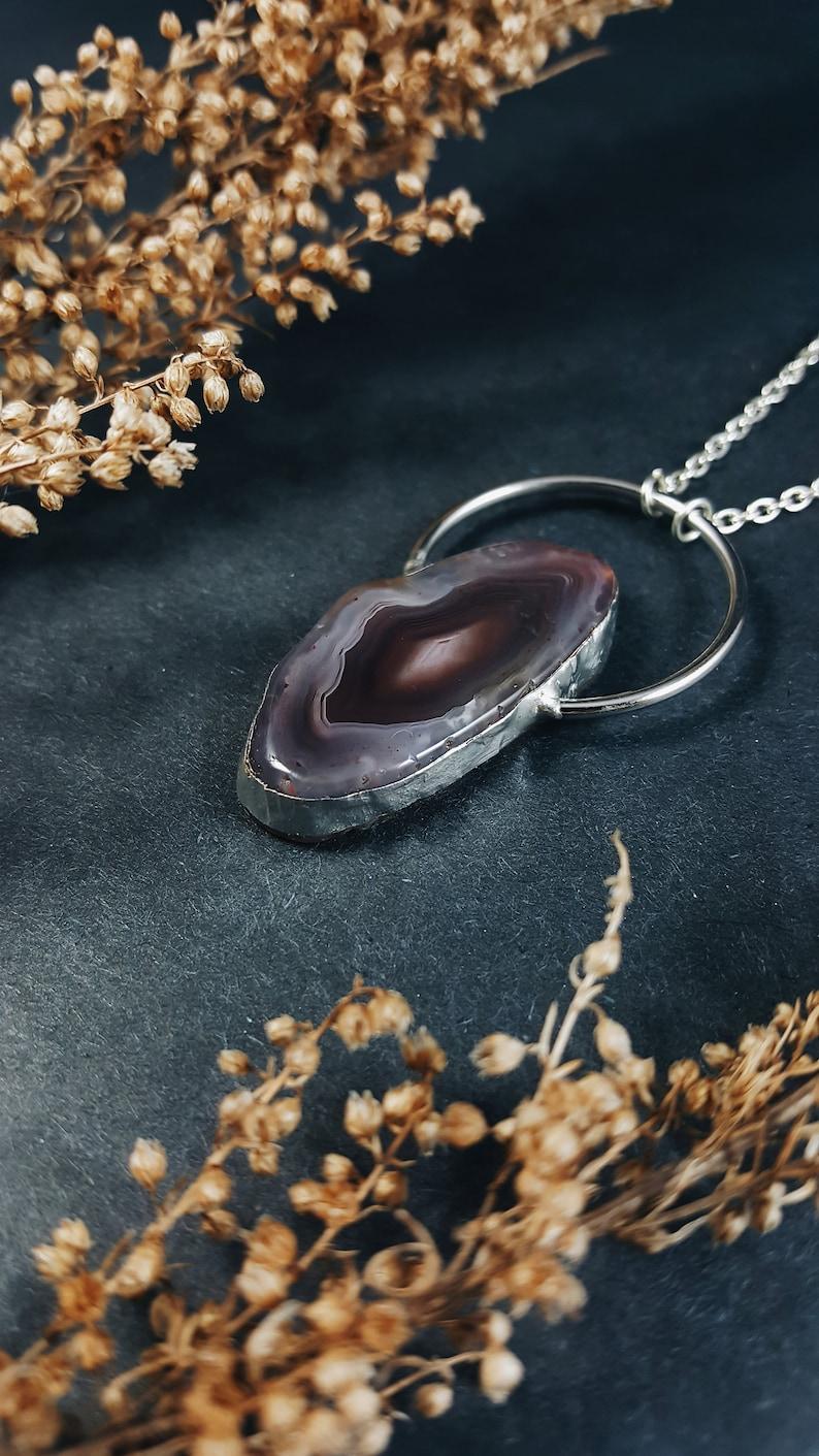 Botswana Agate  Crystal Necklace  Silver Soldered  Stone Amulet  Resizable  Unique  Handmade