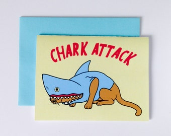 """Greeting Card """"Chark Attack"""", Cat in a shark disguise, ready to attack, digital print"""