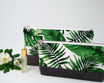 Palm leave Cosmetic bag, make-up pouch, travel bag, toiletry bag, purse
