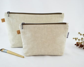 Natural Linen, Cosmetic Bag, Carry All, Makeup Bag, Handmade, High Quality Bag, Water resistant Lining, Large and Medium Size