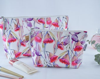 Flowering Gumnut, Cosmetic Bag, Carry All, Makeup Bag, Handmade, High Quality Bag, Water resistant Lining, Large and Medium Size,