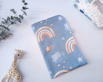 Nappy Change Mat, Travel Change Mat, Baby Shower Gift, Newborn must have, Waterproof, Handmade, BPA free, Safe PUL, Rainbows on blue