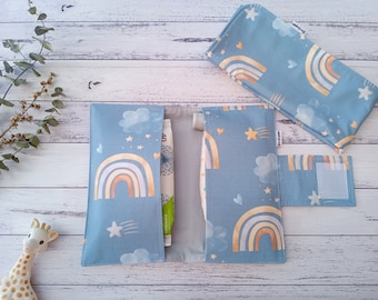 Nappy Change set, Nappy Wallet & Waterproof Change Mat,  Diaper Wallet, All-In-One, Mum to be, Baby Shower Gift, Rainbows on blue