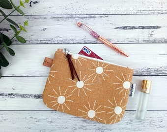 Mustard Sun. Minimalist purse. Small wallet. Coin purse. Generous Size. Zipper Bag. Handmade. Gift for her. Made Ready to Post