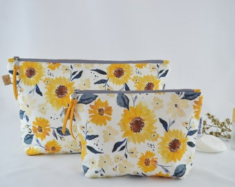 Sunflowers Cosmetic Bag, Carry All, Makeup Bag, Handmade, High Quality Bag, Water resistant Lining, Large and Medium Size,