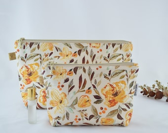 Cosmetic Bag, Carry All, Makeup Bag, Handmade, High Quality Bag, Water resistant Lining, Large and Medium Size, Mustard Florals,
