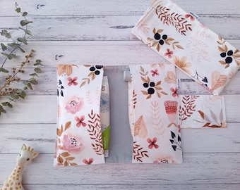 Nappy Change set, Nappy Wallet & Waterproof Change Mat,  Diaper Wallet, All-In-One, Mum to be, Baby Shower Gift, Dusty Pink, Watercolor