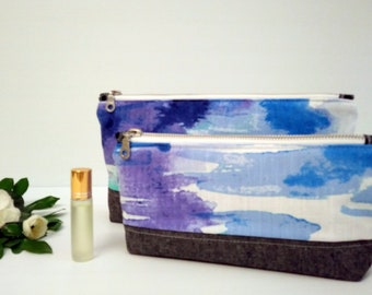 Cosmetic bag, make-up pouch, travel bag, toiletry bag, nappy bag - Blue aquatic