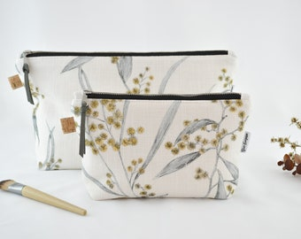Wattle, Cosmetic Bag, Carry All, Makeup Bag, Handmade, High Quality Bag, Water resistant Lining, Large and Medium Size, Natural, Linen look