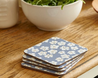 Square coasters, blue coasters, flower coasters, pretty coasters, set of 4, 10x10cm, 4x4""