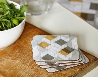 Square coasters, geometric coasters, mustard and grey coasters, graphic coasters, set of 4, 10x10cm, 4x4""