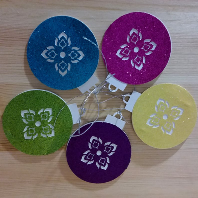 Set of 5 Sparkling Bright Glitter Die Cut  Thai Pattern Holidays Ornament Tag