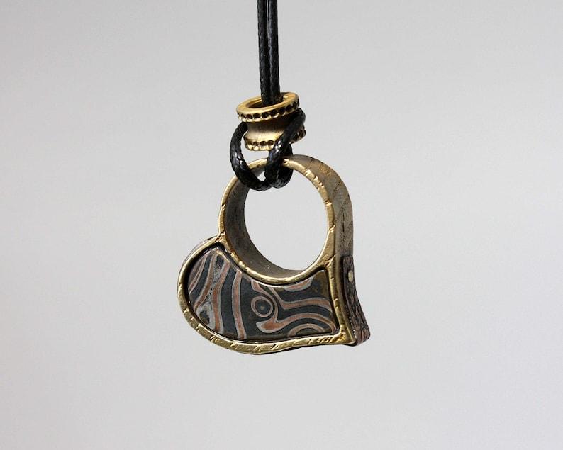 Mokume Gane ring  pendant  jewelry  necklaces  steampunk pendant