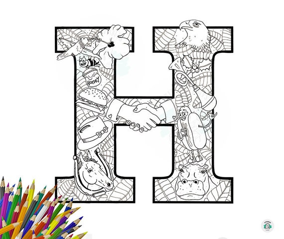 Letter H printable kids coloring in poster with matching | Etsy