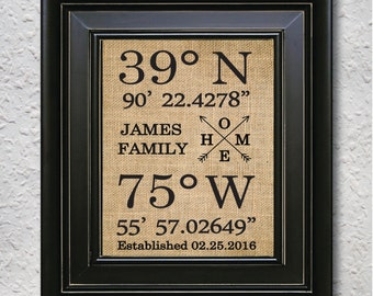 Gps coordinates home sign, Home Latitude Longitude Print, Our First Home Sign, Personalized Housewarming Gift, Home- Burlap Print-7O
