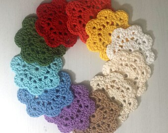 Customizable Crochet Coasters, Cotton Coasters, Retro Coasters, Flower Coasters, Cotton Flower Coaster